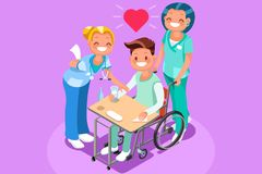 Man in Wheel Chair Isometric People Vector Stock Photos