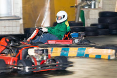 The man at the wheel go-cart racing on training Royalty Free Stock Photo