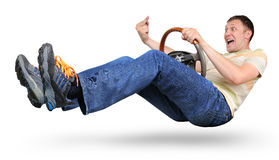 Man at wheel shows indecent gesture Royalty Free Stock Photos