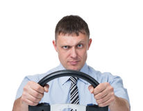 Man with the wheel on white Stock Photos