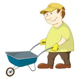 Man with wheelbarrow. Man workman rolls an empty wheelbarrow, isolated Stock Photos