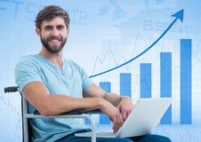 Man in wheelchair against blue graph. Digital composite of Man in wheelchair against blue graph Stock Photos