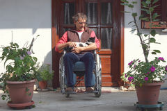 Man in wheelchair Royalty Free Stock Photography