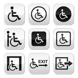 Man on wheelchair, disabled, emergency exit buttons set Royalty Free Stock Photos