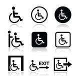 Man on wheelchair, disabled, emergency exit icon Royalty Free Stock Photos