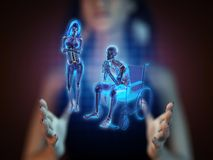 Man in wheelchair on hologram Stock Images
