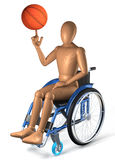 Man in wheelchair playing with basketball Stock Photo