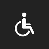 Man in wheelchair vector icon. Handicapped invalid people sign i Royalty Free Stock Photos