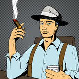 Man with whiskey and cigar pop art vector Stock Photo