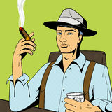 Man with whiskey and cigar pop art vector Royalty Free Stock Image