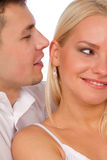 Man whisper a compliment Stock Photo
