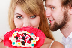 Man whispering to woman ear sharing secret. Royalty Free Stock Photos