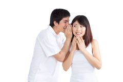 Man Whispering Woman's Ear Stock Photography