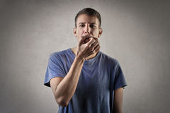 Man whistling Stock Images
