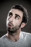 Man whistling to anyone royalty free stock image