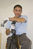Man whit drill Stock Photos