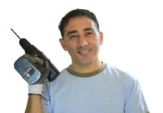 Man whit drill Stock Image