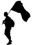 Man whit flag one Royalty Free Stock Photo