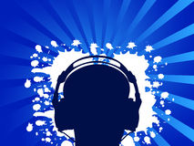 Man whit headphone 2. Man listening music with headphone. Vector illustration Royalty Free Stock Photo