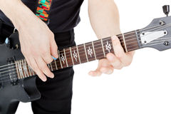 Man on a white background. Performer with an electric guitar Royalty Free Stock Image