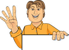 Man with white board. Illustration of a smiling man holding a blank white board Vector Illustration