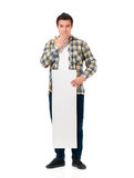 Man with white board Stock Photos