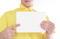 Man with white board Royalty Free Stock Photos