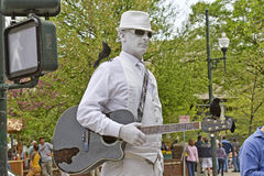Man In White Busker Stock Images