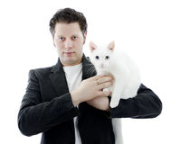 Man with white cat. Royalty Free Stock Images