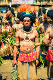 Man with white colour on body in Papua New Guinea Royalty Free Stock Photo