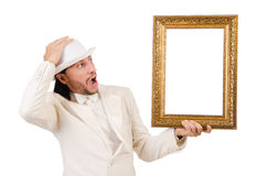 Man in white costume. With picture frame royalty free stock photos