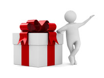 Man with white gift box. 3D image Stock Photo