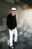 Man in white hat Royalty Free Stock Photography