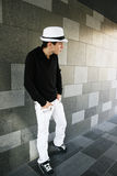 Man in white hat Stock Photography