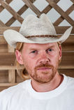 Man in white hat Stock Image