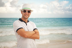 Man in white hat and sunglasses Royalty Free Stock Photos