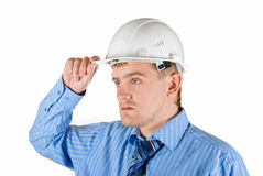 Man at white helmet Royalty Free Stock Photo