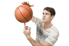 Man on white hold the basket ball Royalty Free Stock Image