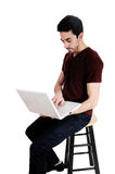 Man with white laptop. Stock Photos