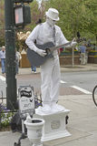 Man in White, Living Statue Royalty Free Stock Photos