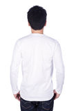 Man in white long sleeve t-shirt isolated on white background b Stock Photo