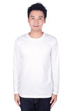 Man in white long sleeve t-shirt isolated on a white background. Happy man in white long sleeve t-shirt isolated on a white background Royalty Free Stock Photography