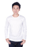 Man in white long sleeve t-shirt isolated on a white background. Happy man in white long sleeve t-shirt isolated on a white background Stock Images