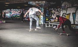 Man in White Shirt on Black Skateboard Doing Tricks Royalty Free Stock Photography
