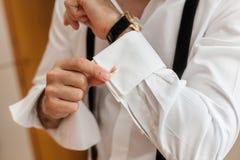 Man and white shirt and cufflink Stock Photo
