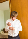 The man in the white shirt  dress cufflinks Royalty Free Stock Photos