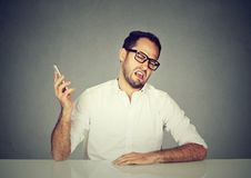 Rude man having phone call royalty free stock images