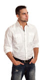 Man in White Shirt and Jeans Stock Photos