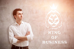 Man in white shirt and king of business sketch, toned Stock Images