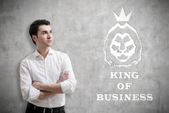 Man in white shirt and king of business sketch Royalty Free Stock Image